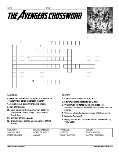 Free Printable The Avengers Crossword