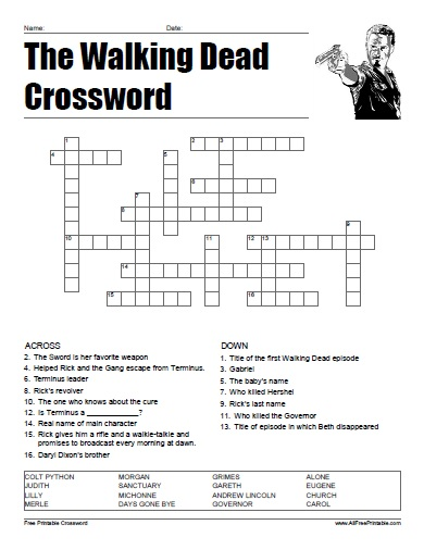 Free Printable The Walking Dead Crossword