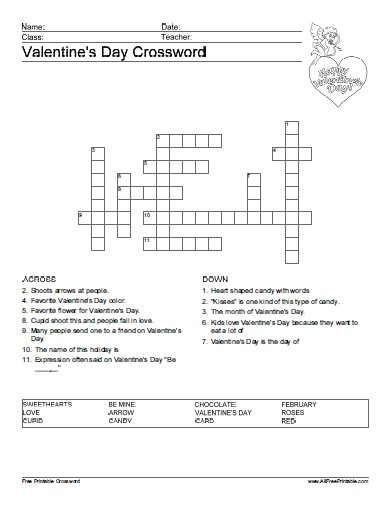 image regarding Valentine Day Word Search Printable named Valentines Working day Crossword Puzzle - Cost-free Printable
