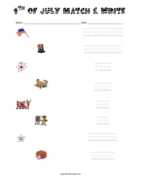 Free Printable 4th of July Matching Worksheet