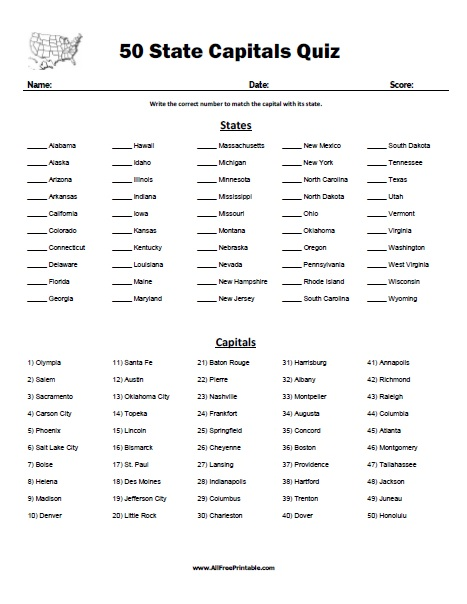 50 State Capitals Quiz - Free Printable - AllFreePrintable.com