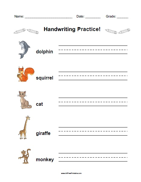 Free Printable Animals Handwriting Practice Worksheet