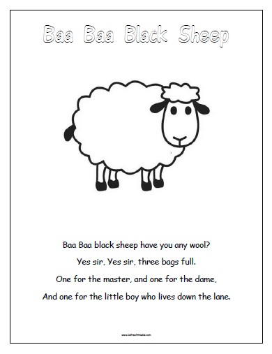 Free Printable Baa Baa Black Sheep
