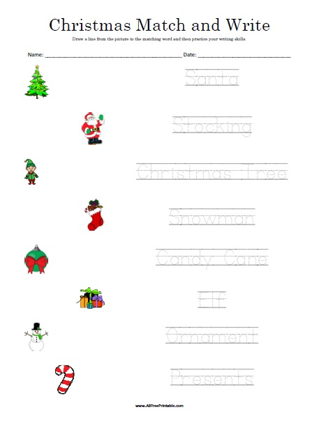 Free Printable Christmas Matching Worksheet