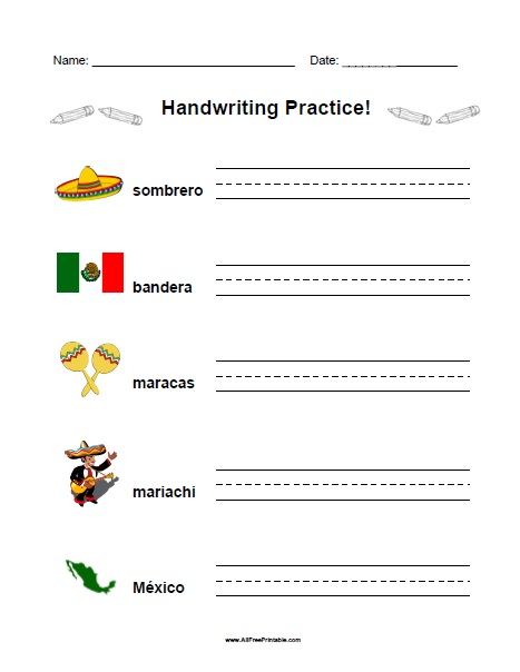 Free Printable Cinco de Mayo Handwriting Practice