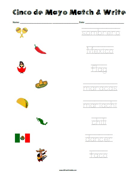 Free Printable Cinco de Mayo Matching Worksheet