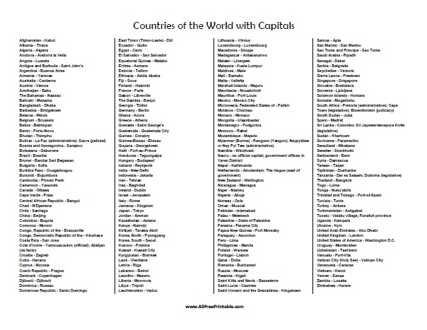 Countries Of The World List With Capitals Free Printable - List of world countries and capitals