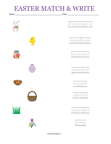 Free Printable Easter Matching Worksheet