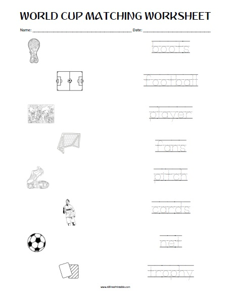 Free Printable FIFA World Cup Matching Worksheet