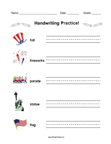 Free Printable Fourth of July Handwriting Practice