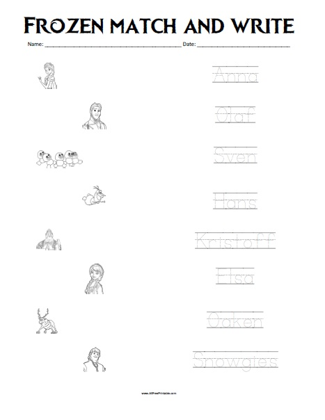 Free Printable Frozen Matching Worksheet
