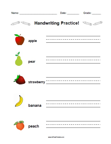 Fruit Handwriting Practice Worksheet - Free Printable - AllFreePrintable.com
