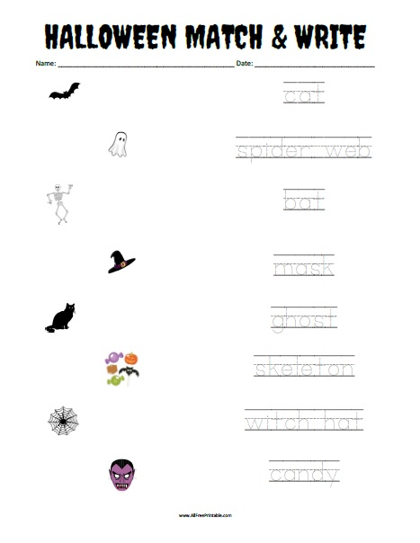 Free Printable Halloween Matching Worksheet