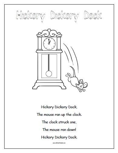 Free Printable Hickory Dickory Dock