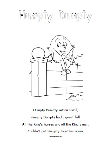 graphic about Humpty Dumpty Printable known as Humpty Dumpty - No cost Printable -
