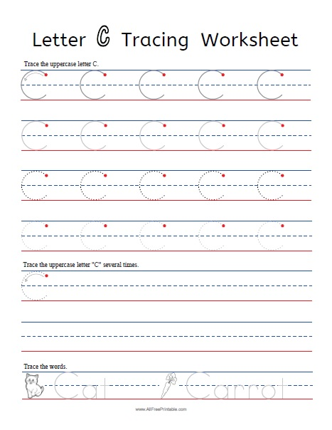 Free Printable Letter C Tracing Worksheets
