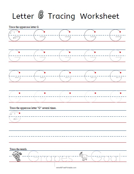 image relating to Letter G Printable known as Letter G Tracing Worksheets - Absolutely free Printable
