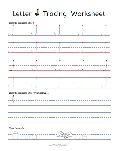 Free Printable Letter J Tracing Worksheets