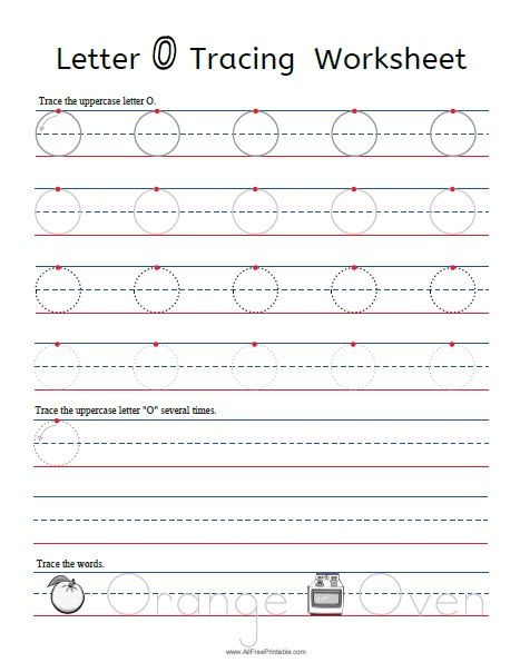 Free Printable Letter O Tracing Worksheets