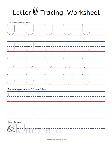 Free Printable Letter U Tracing Worksheets