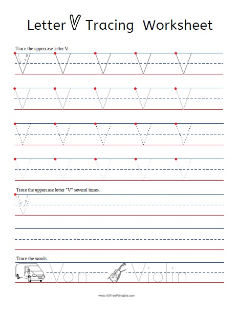 Free Printable Letter V Tracing Worksheets