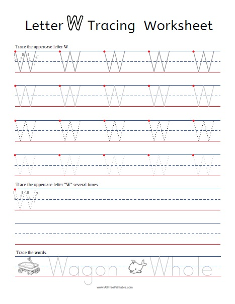 Free Printable Letter W Tracing Worksheets