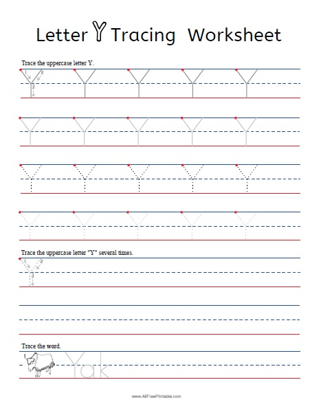 Free Printable Letter Y Tracing Worksheets