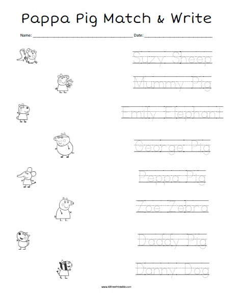 Free Printable Peppa Pig Matching Worksheet