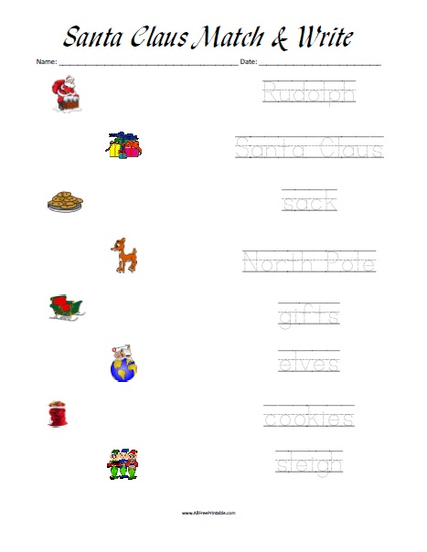 Free Printable Santa Claus Matching Worksheet