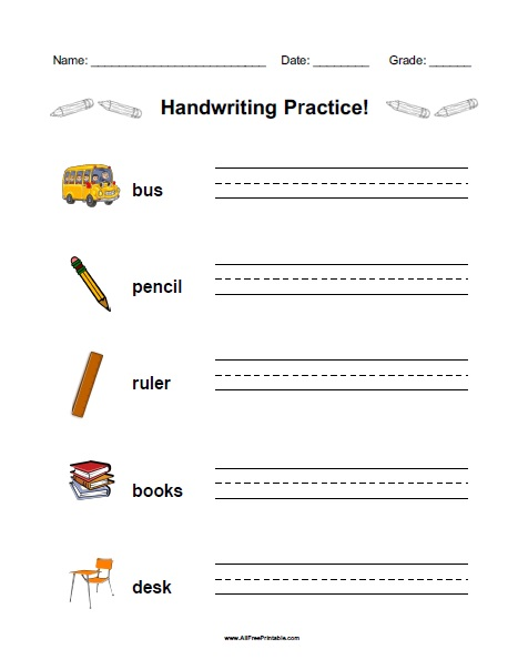 Free Printable School Handwriting Practice Worksheet
