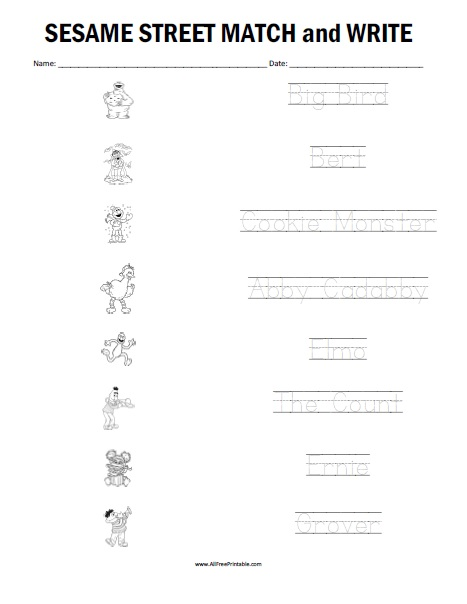 Free Printable Sesame Street Matching Worksheet