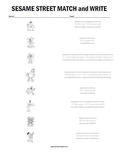 Free Printable Sesame Street Matching Worksheet
