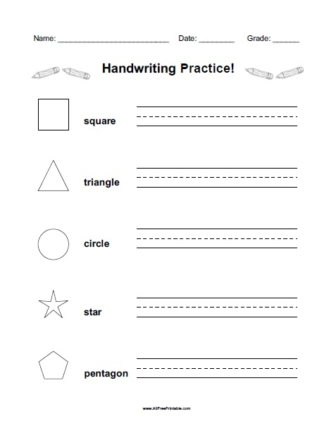 shapes handwriting practice worksheet free printable. Black Bedroom Furniture Sets. Home Design Ideas