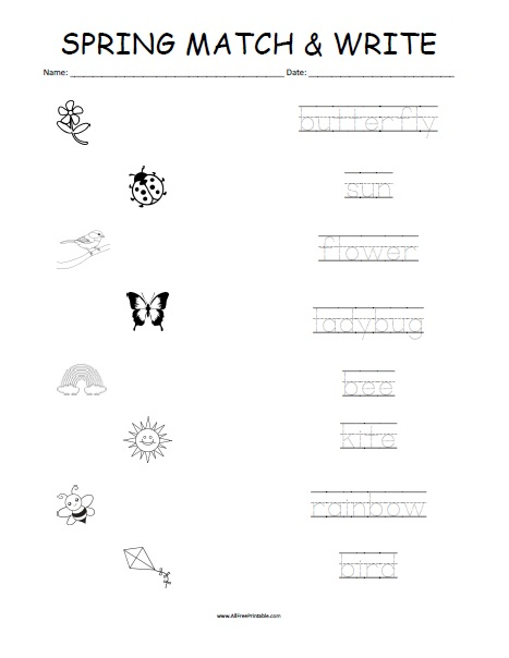 Free Printable Spring Matching Worksheet