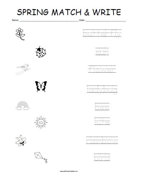 Free Printable Spring Matching Worksheet