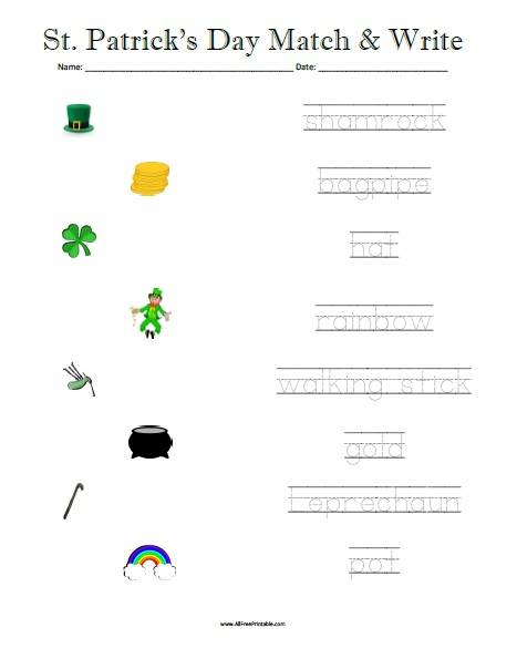 photograph relating to St Patrick's Day Worksheets Free Printable identify St. Patricks Working day Matching Worksheet - Totally free Printable
