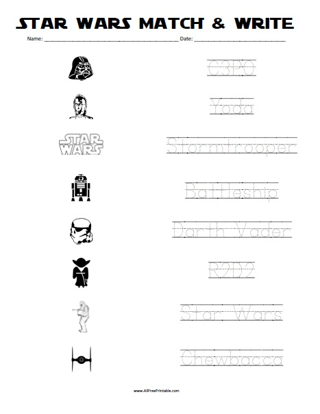 Free Printable Star Wars Match and Write