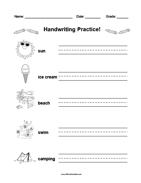Free Printable Summer Handwriting Practice