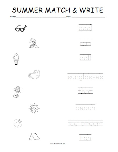 Free Printable Summer Matching Worksheet