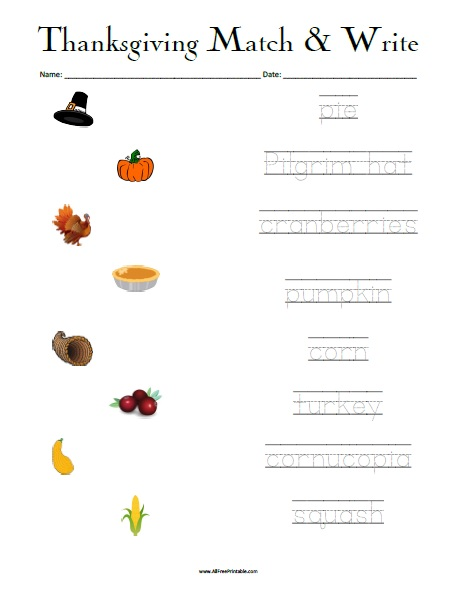 Free Printable Thanksgiving Matching Worksheet
