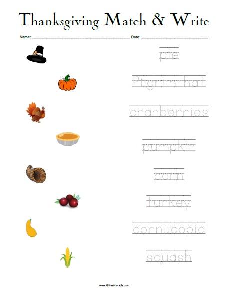 Free Printable Thanksgiving Matching Worksheet
