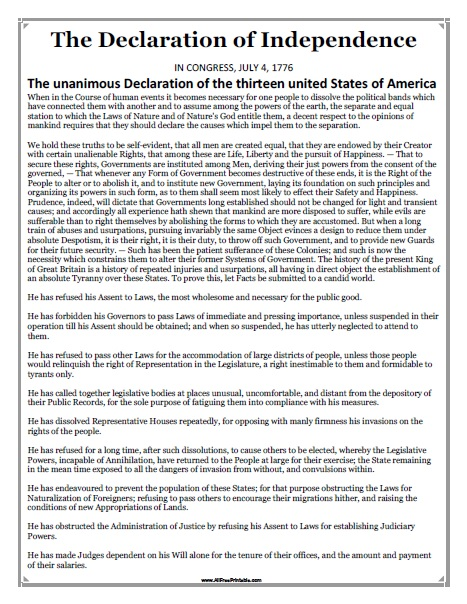 Selective image throughout printable declaration of independence text