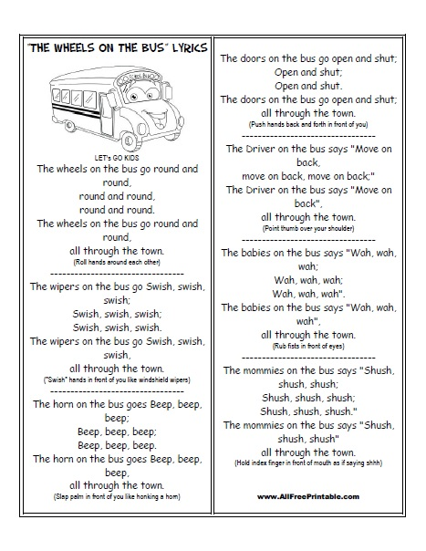 Free Printable The Wheels on the Bus Lyrics