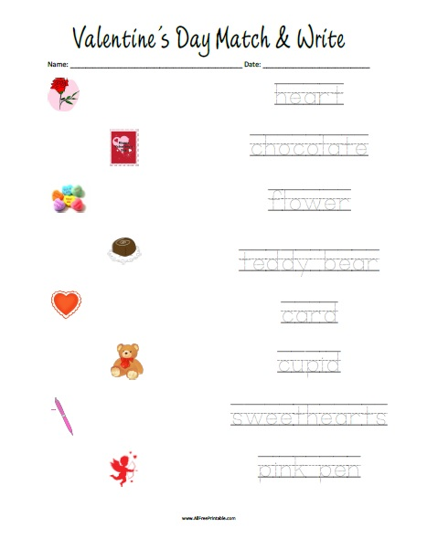 Free Printable Valentine's Day Matching Worksheet