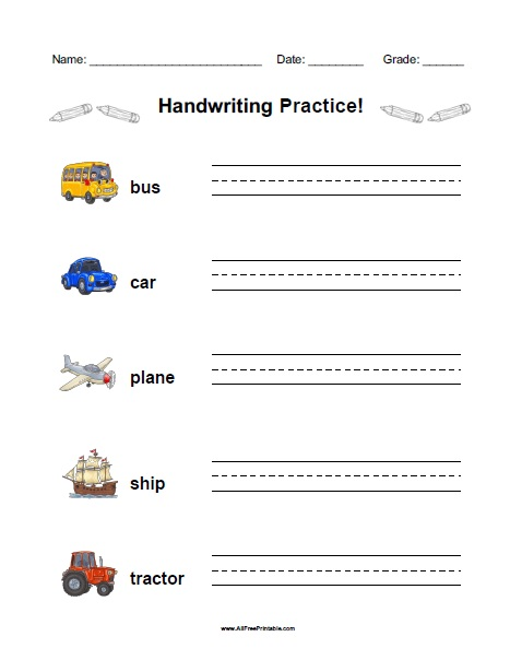 Free Printable Vehicles Handwriting Practice Worksheet