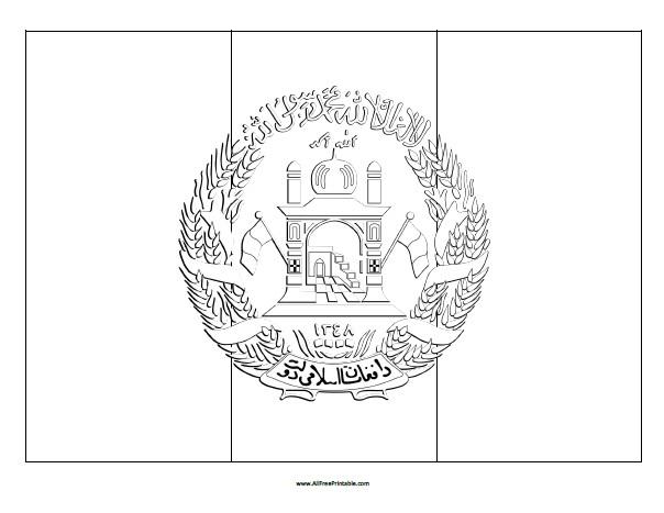 Free Printable Afghanistan Flag Coloring Page