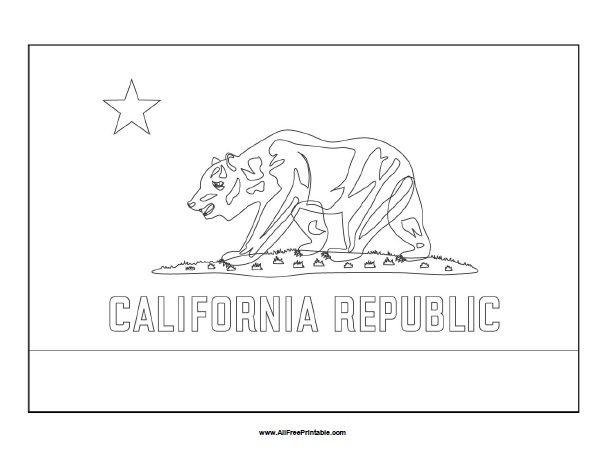 Free Printable California Flag Coloring Page