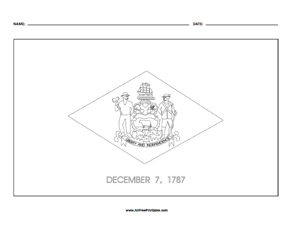 Free Printable Delaware State Flag Coloring Page