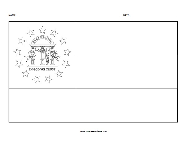 Free Printable Georgia State Flag Coloring Page