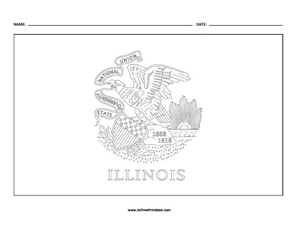 Free Printable Illinois Flag Coloring Page
